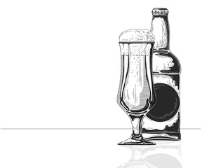 Bottle of beer. Glass with beer. Vector illustration of a sketch style