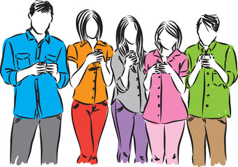 group of people with smartphones illustration