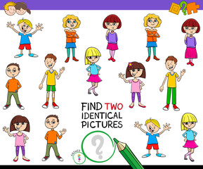 find two identical pictures game with kids