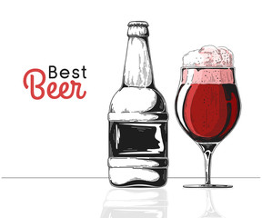 Bottle of beer. Glass with beer. Best beer. Vector illustration of a sketch style