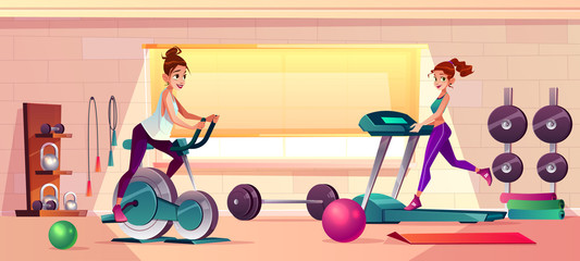 Vector cartoon background of gym with girls doing fitness. Women on treadmill and training bike. Sport interior with dumbbells and rubber balls. Athletic, healthy concept.