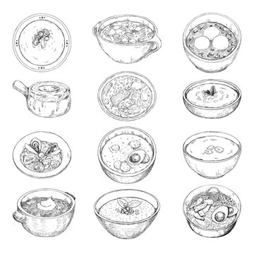 Set of different soups. Vector illustration in sketch style