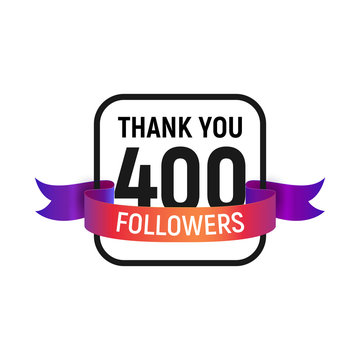 400 followers number with color bright ribbon isolated vector icon. Four hundred follower thank you