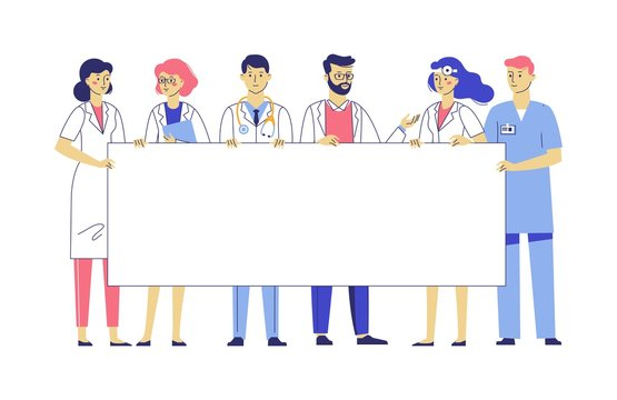 Medicine team concept with different doctors and blank banner with copy space for text. Group of practitioner doctors young man and woman standing together and holding empty placard.