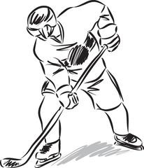 hockey man player illustration black and white