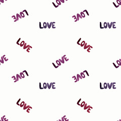 Seamless pattern with words love. Watercolor illustration