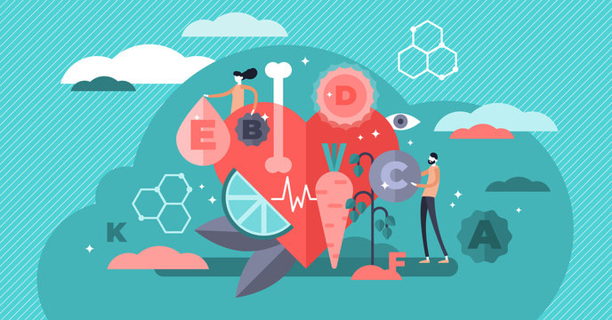 Vitamins vector illustration. Flat tiny healthy lifestyle persons concept.