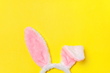 Happy Easter concept. Preparation for holiday. Decorative bunny ears furry fluffy costume toy...