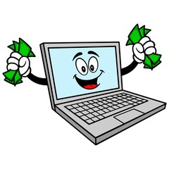Computer Mascot with Money - A vector cartoon illustration of a Computer Mascot with Money.