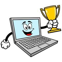 Computer Mascot with Trophy - A vector cartoon illustration of a Computer Mascot with a Trophy.