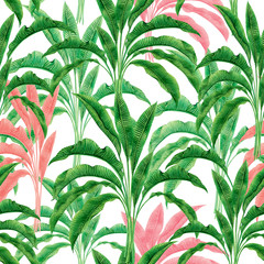 Watercolor painting green,pink,banana leaves seamless pattern on white background.Watercolor hand drawn illustration palm leaf,tree tropical exotic leaf for wallpaper textile vintage Hawaii style.