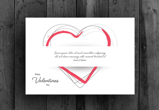 Valentine's Day Card Layout with Repeating Heart Elements