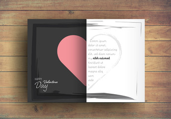 Valentine's Day Card Layout with Two-Tone Heart Element