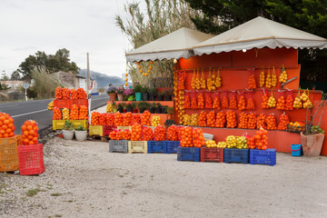 Citrus Fruits for Sale in a Market Along a Road in Spain