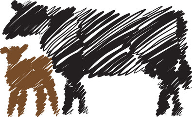 cow and baby cow brush style illustration