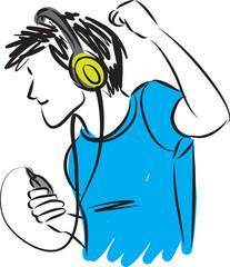 man listening music with headphones illustration
