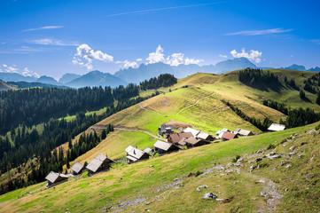 Mountain landscape. Small village on mountains