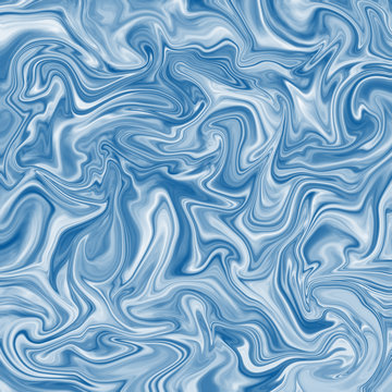 High resolution liquid marble texture design, light blue marbling satin or silk-like surface, different blue lines. Vibrant abstract digital paint design background.