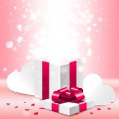 Open gift box with shiny lights surprise inside, greeting card, banner, vector illustration