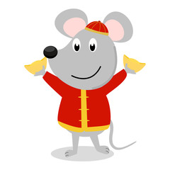 Rat cartoon character wear Chinese traditional cloth and hold gold ingot on hand. Concept design for cartoon character use in greeting card, banner for Chinese new year or spring festival in vector