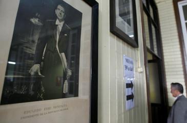 A picture of the Chilean former president Eduardo Frei Montalva, father of the former president Eduardo Frei Ruiz-Tagle, is displayed in a public school in La Union town