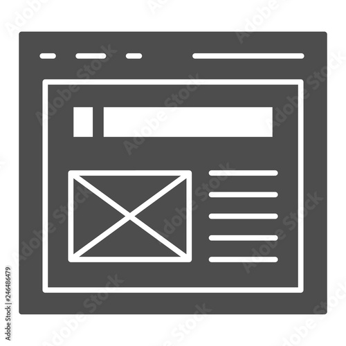 The browser solid icon  Website window vector illustration isolated