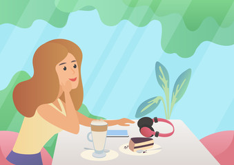 Woman with a cup of coffee and cake dessert. Cartoon cafe interior vector illustration.