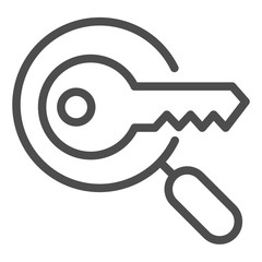 Keyword search line icon. Magnifying glass and key vector illustration isolated on white. Research outline style design, designed for web and app. Eps 10.