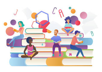 Read books concept. Education, school, study and literature people. Book festival logo vector illustration.