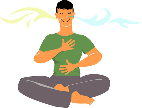 Man practicing breathing exercises, EPS 8 vector cartoon