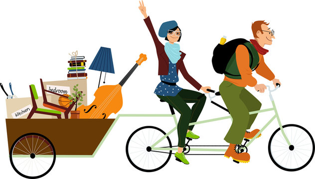 Minimalists couple on a tandem bicycle with all their belongings in a  cargo trailer, EPS 8 vector illustration