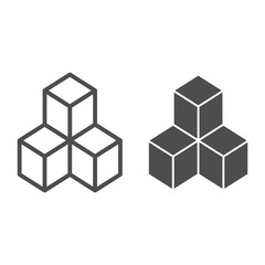 Geometric cubes line and glyph icon. Solution vector illustration isolated on white. Blocks outline style design, designed for web and app. Eps 10.