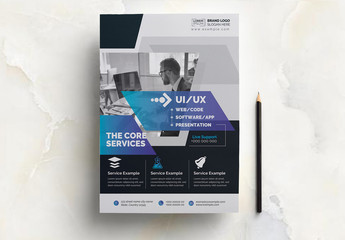 Flyer Layout with Blue Gradient Elements