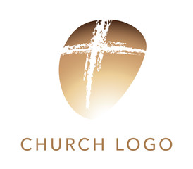 Christian cross church logo. Christianity symbol of Jesus Christ. Natural brush strokes with rough edges.