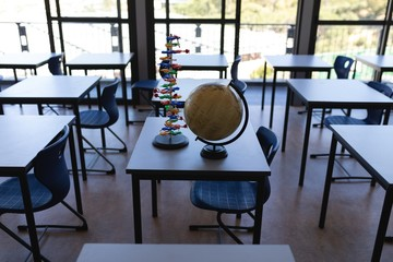 Globe and DNA model for children on a table