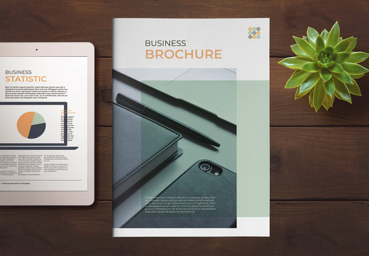 Business Brochure Layout with Green and Orange Accents