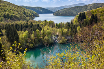 Lake Ciginovac and Proscansko surrounded by green forests, Plitvice Lake National Park, Croatia