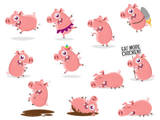 funny collection of a cartoon pig