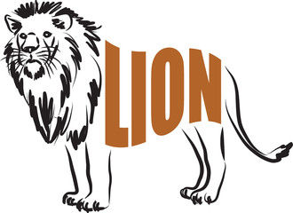 LION lettering illustration