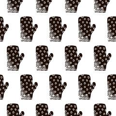 kitchen glove vector seamless pattern