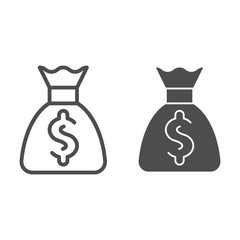 Money bag line and glyph icon. Cash vector illustration isolated on white. Investment outline style design, designed for web and app. Eps 10.