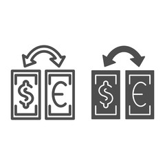 Currency exchange line and glyph icon. Dollar and euro exchange vector illustration isolated on white. Banknotes and arrow outline style design, designed for web and app. Eps 10.