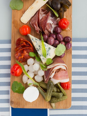 A charcuterie board with cheese