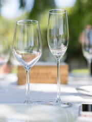 Wine and champagne glasses on a table