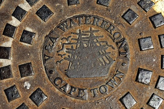 Manhole cover of the Victoria and Albert-Waterfront, Cape Town, Western Cape, South Africa, Africa