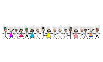 Hand drawing smiling happy people holding hands. Human race friendship concept. Male and Female group vector