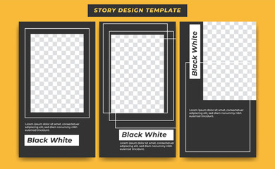 Social Media Instagram Story Design Template in casual black modern simple sporty theme with white line abstract frame for influencer, product, and brand promotion