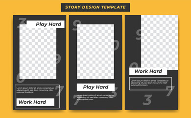 Social Media Instagram Story Design Template in casual black modern simple sporty theme with numbers background for influencer, product, and brand promotion