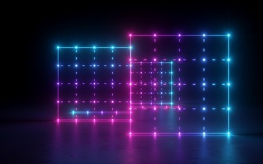 3d render, abstract background, screen, grid, network, glowing dots, neon lights, virtual reality,...