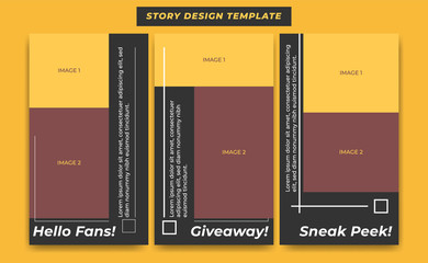 Social Media Instagram Story Design Template in black modern simple sporty theme for influencer, product, and brand promotion